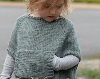 Knitting Pattern - Odila Cape Pullover (2/3, 4/5, 6/7, 8/9, 10/11, 12/14, Small, Medium, Large ...