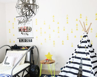 Yellow Triangles Wall Decal Kids Wall Stickers Baby Nursery Decor Yellow  Boys Room Removable Wall Decal Part 41