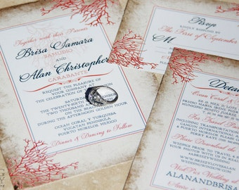 NEW, The Coral Encounter Wedding Invitation Suite. Rustic, coral and parchment style