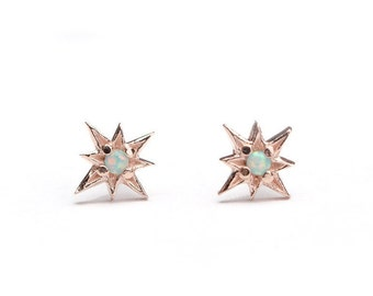 Tiny Starburst Stud Earrings, Sterling Silver & Gold Plated,  Opal Moon Yellow  North Star Earrings, Minimal Jewelry, Hand Made, STD049 O03