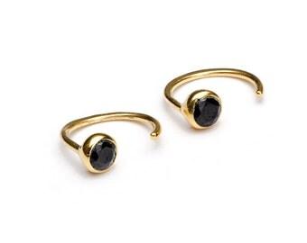 Black Sapphire Hug Hoop, Sterling Silver Gold Plated, Gemstone Hug Earrings, Open Hoops, Minimalist Lunaijewelry, Handmade, Gift, EAR039BSR