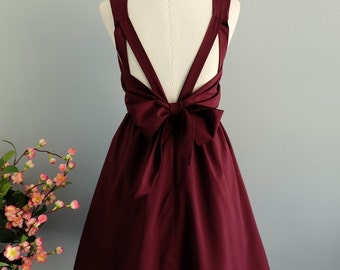 Maroon backless dress party cocktail bridesmaid dress