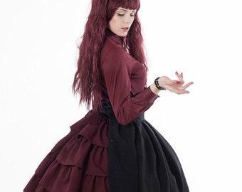 Bustle back High waisted SKIRT | dark green burgundy red navy blue white black Victorian Gothic Lolita military CUSTOM plus size ruffles