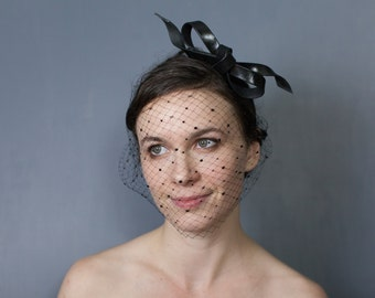 Special! Leather bow headband and crystal veil