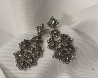 Pierced Vintage Earrings - Dangle - Dark Metal with Marcasite Accents -Post with Flat Backings -