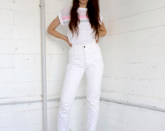 white jeans, 90s  off white high waisted tapered skinny jean + embroidered floral eyelet hole pattern, tight, stretchy,