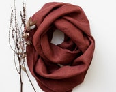 Rust Linen Circle Scarf natural eco