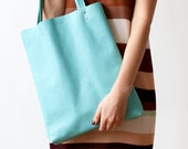 Rainbow SALE Turquoise Leather Tote bag No.tl- 9051 aqua