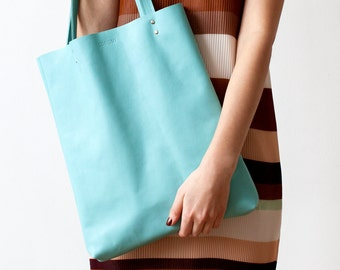 Xmas in July SALE Turquoise Leather Tote bag No.tl- 9051 aqua