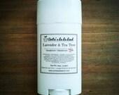 Lavender & Tea Tree Natural Deodorant - Deodorizing Essential Oil Blend, Extra Strength, Aluminum Free