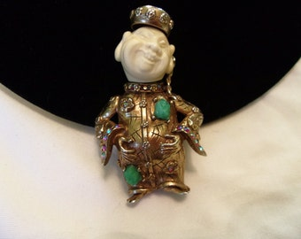 HAR Brooch Vintage Smiling Chinaman Buddha Asian Figural Faux Jade Glass Rhinestone Gold Plate Pin