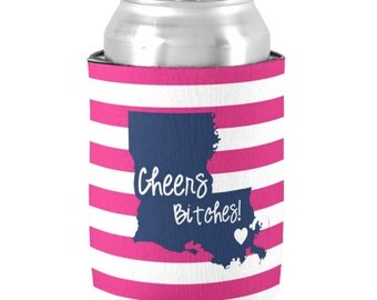 6 Personalized Can Coolers - Bridesmaid/ Bachelorette Coolies - Bridal Party Favors - Bachelorette Party - Cheers Bitches