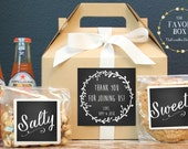 Set of 6-Out of Town Guest Box / Wedding Welcome Box / Wedding Welcome Bag / Out of Town Guest Bag / Wedding Favor / Laurel Chalkboard Label