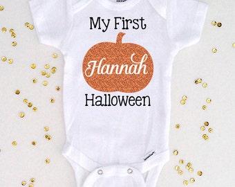 Personalized My First Halloween Bodysuit, Halloween Pumpkin, Halloween Shirt, Newborn Baby Girl Shirt, Baby Girl Bodysuit (SH021)