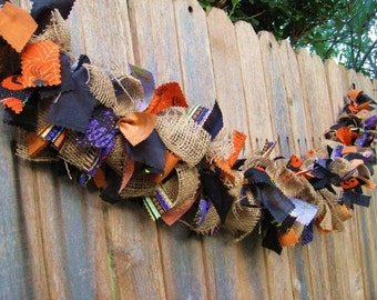 Halloween Garland, Halloween Banner, Halloween Decor, Halloween Bunting, Fabric Garland, Ribbon Garland, Fall Garland, Autumn Banner