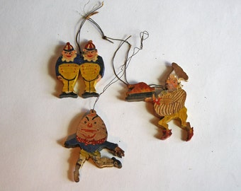 Antique Wood Painted Christmas Tree Decorations