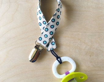 Pacifier Clip - Green Polka Dot