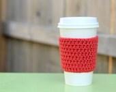 Crocheted Coffee Sleeve in Terracotta Red- Coffee Cozy- Java Jacket