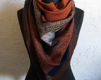 Extra Large XL Rust Brown Black Classic Geometric with Scrolls and Flower Pattern Scarf