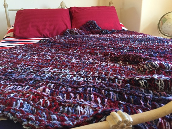 Unique Throw Blanket Afghan Decor Americana USA Blanket United States Hand Made in America Red, White and Blue