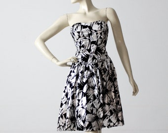 metallic cocktail dress, vintage 80s strapless party dress