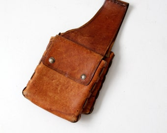 vintage leather saddle bags, 60s hand-made motorcycle bags