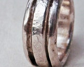 Sterling Silver Spinner Rings D for Pinkie Finger Size 5 Hand Forged