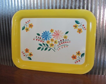 Vintage Golden Yellow Floral Aluminum Metal Tray - Entertaining - Serving - Dining - Home Decor