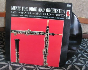 """Vintage 70's """"Music for Oboe and Orchestra"""" Classical Music Vinyl Record Album - Harry Schulman - Handel - Fiocco - Bach - Orchestra"""