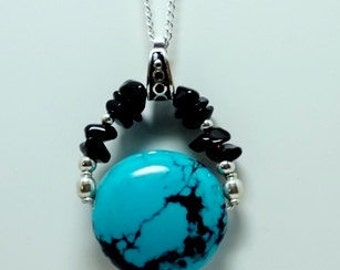 Sterling Silver Blue Turquoise and Gemstone Necklace