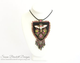 Beaded Hummingbird Pendant Statement Necklace Fashion Jewelry Cocktail Necklaces Bead Embroidered Porcelain Cabochon Embroidery Beads Boho