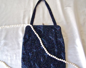 Vintage Beaded Purse Navy Blue Paisley Beaded Pattern Magid Elaborate Beadwork Cocktail Bag Evening Bag Vintage 1960s