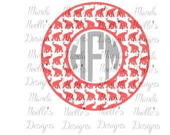 Alabama Elephant Circle SVG, Print, DXF, Silhouette Instant Download