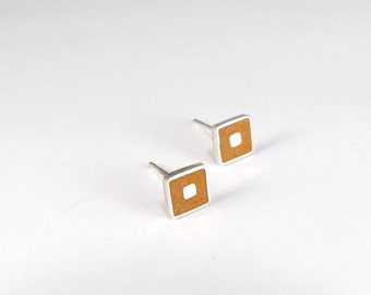 Sterling Silver Earrings - Silver Squares - Orange Color