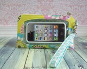 iphone wristlet, ready to ship, smartphone wristlet, iphone 6s wristlet, phone wallet, cell phone wristlet, Touch Screen Wristlet, lime