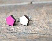 Wood laser cut pentagon white, pink, earrings christmas