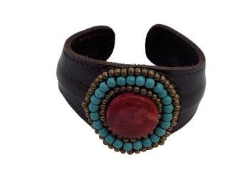 Carnelian and Turqoiuse leather cuff