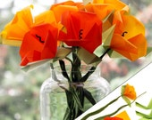 Origami DIY Kit - Make your own California Poppies Origami Flower Bouquet - Origami Paper Supplies - Paper Flowers Kit - Art Craft Project