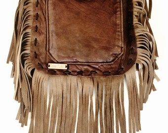 Harlow Desert Dreaming Bag - boho gypsy handbag, handmade from recycled brown leather with fringe - hippie, bohemian, ecofriendly