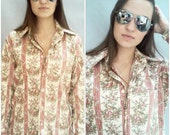 vintage 70s Christian dior shirt Tiny Floral button down shirt UNISEX tan with red stripes and flowers