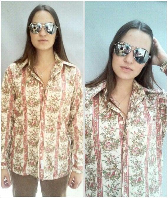70s Printed Shirt, Floral, CHRISTIAN DIOR, Paisley Shirt,  Floral Print COTTON  sz 15 1/2 X 35