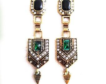 Art Nouveau Green Emerald Crystal Earrings Zirconia rhinestones Dangle Evening Earrings Bridesmaid Gift Woman Jewelry Flapper