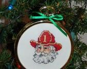Firehouse Santa Cross Stitch Ornament