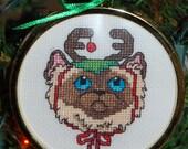 Reindeer Cat Cross Stitch Ornament