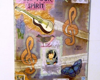 Music Lover Mixed Media Painting, Music Note Fabric Art, Treble Clef Artwork, Inspirational Word Art
