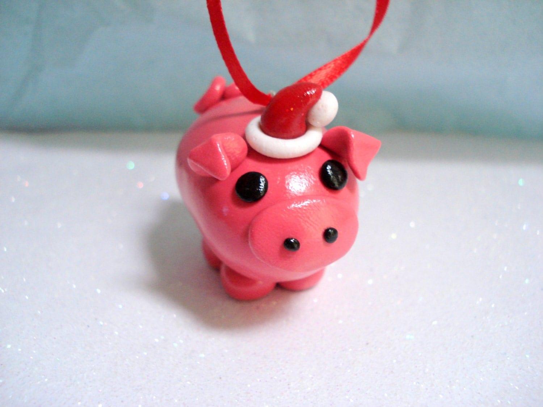 Christmas Pig Ornament Polymer Clay Christmas Ornaments Piggy