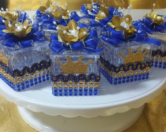 royal blue gold boys baby blocks baby shower favors prince baby shower