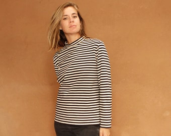 90s striped OXFORD soft SPRING t shirt top black and white mock turtleneck shirt
