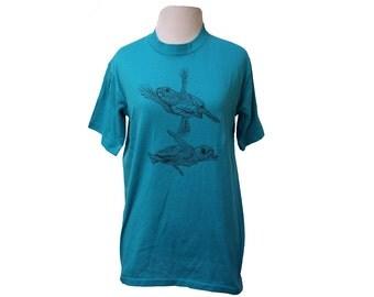 Vintage Sea Turtle T-shirt Blue Size Medium