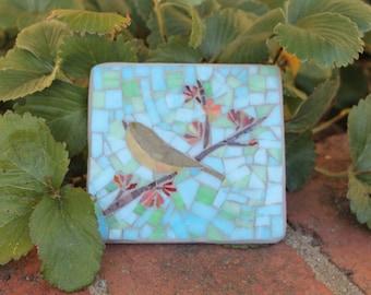 Outdoor mosaic art - Bird on spring branch